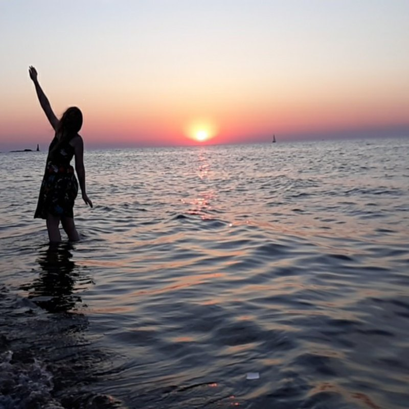 Kate in the Water at Sunset