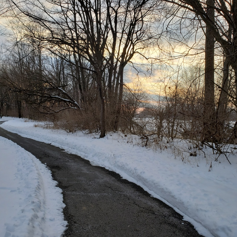 People Trail in Snow, Columbus, Indiana - February 2021